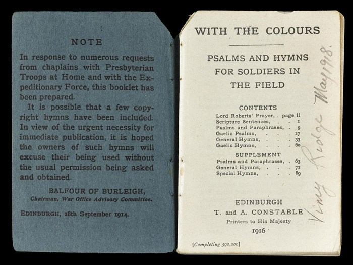 Book of psalms and hymns printed for soldiers by the Church of Scotland, belonging to Archibald Sneddon, 10th Battalion Cameronians.