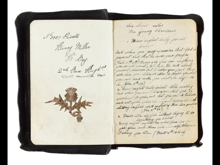 New Testament with 'six short rules for young Christians', handwritten by its owner, Private Henry Miller, 2nd Battalion Cameron Highlanders.
