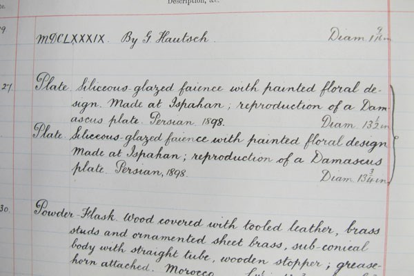 Detail of 'The Royal Museum Register of Specimens' recording the acquisition of the two dishes in March 1899