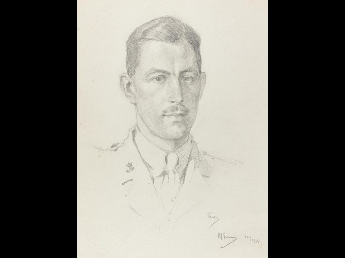 Portrait of Captain G Pride, 10th Battalion Cameronians, by 2nd Lieutenant Herbert J Gunn, 1918.