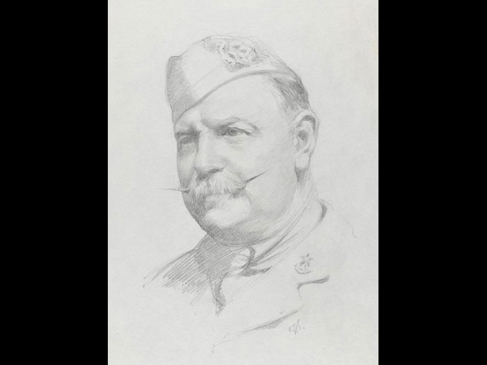 Portrait of Lieutenant and Quartermaster FRH Needham, by 2nd Lieutenant Herbert J Gunn, 1918.