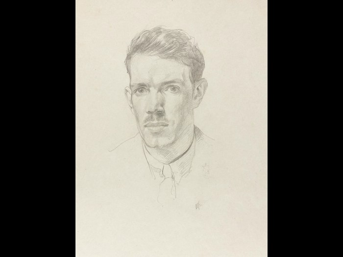 Self-portrait drawn in pencil in northern France, 1918.