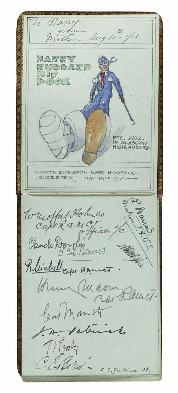 Two pages in autograph book compiled by Hubbard at North Evington Hospital, Leicester, May 1915.