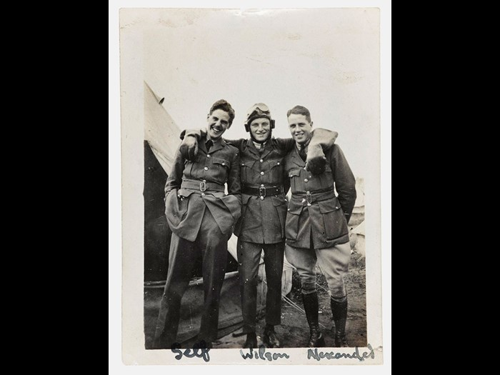Three officers of the Royal Air Force pose together for the camera in 1918. On the left is Lieutenant JMW Hamilton whose flying training began in 1917 at Montrose Air Station, Angus.