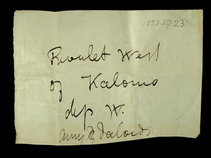 Livingstone's note written in the field for the amygdales: 'Rivulet west of Kalomo dip W.'