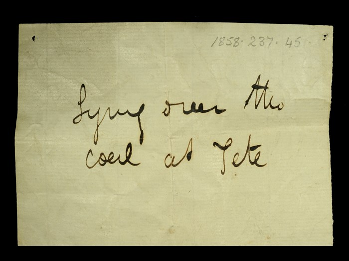 Livingstone's note written in the field for the micaceous grit: 'Lying over the coal at Tete.'