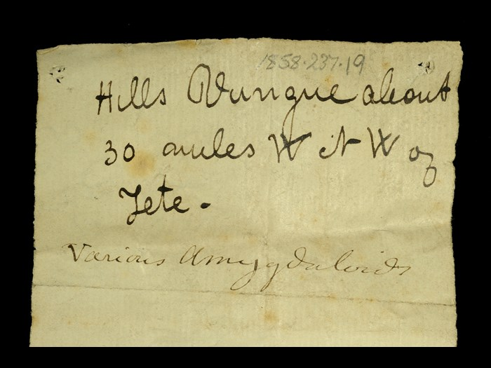 Livingstone's note written in the field for the amygdales: 'Hills Vunga about 30 miles WNW of Tete.'