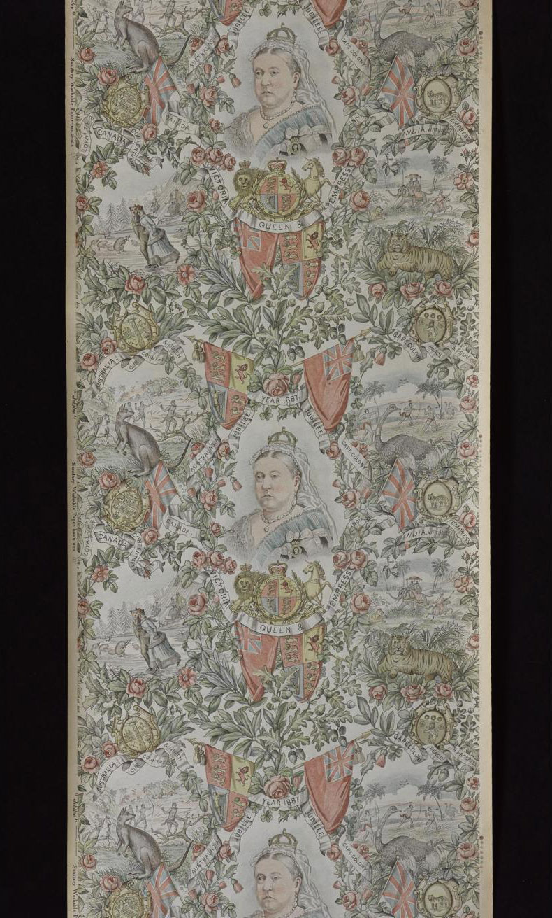 This wallpaper, designed to celebrate Queen Victoria's Golden Jubilee, can be found in the Design for Living gallery