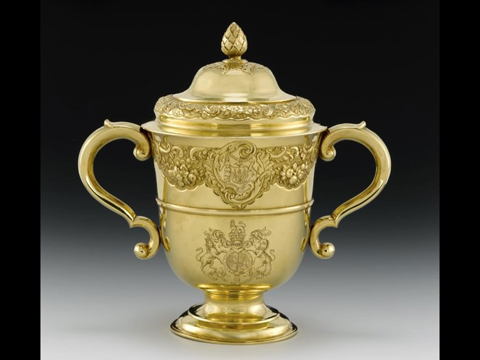 Gold cup and cover awarded as the King's Plate Prize at Leith Races. Made by Ker and Dempster of Edinburgh, c1751.