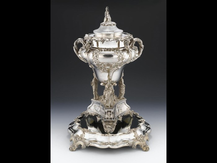 Neill cup, with a cover topped by a sculpture of Britannia. Made by Mackay, Cunningham and Co of Edinburgh, 1843-44. You can see this cup in the Silver Treasury in the National Museum of Scotland.