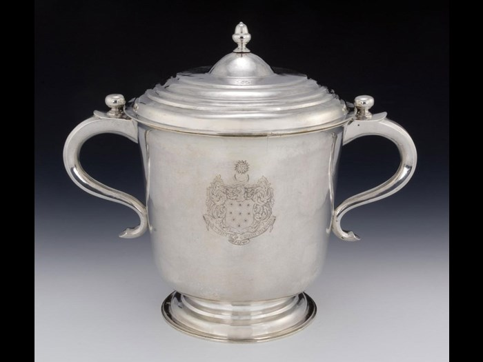 Silver cup and domed cover engraved with the coat of arms, crest and motto of George Baillie of Jerviswood. Made by James Sympsome of Edinburgh, 1709-10. You can see this up in the Scotland Transformed gallery in the National Museum of Scotland.