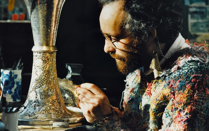 Malcolm Appleby at work on the Cup and cover in 1990