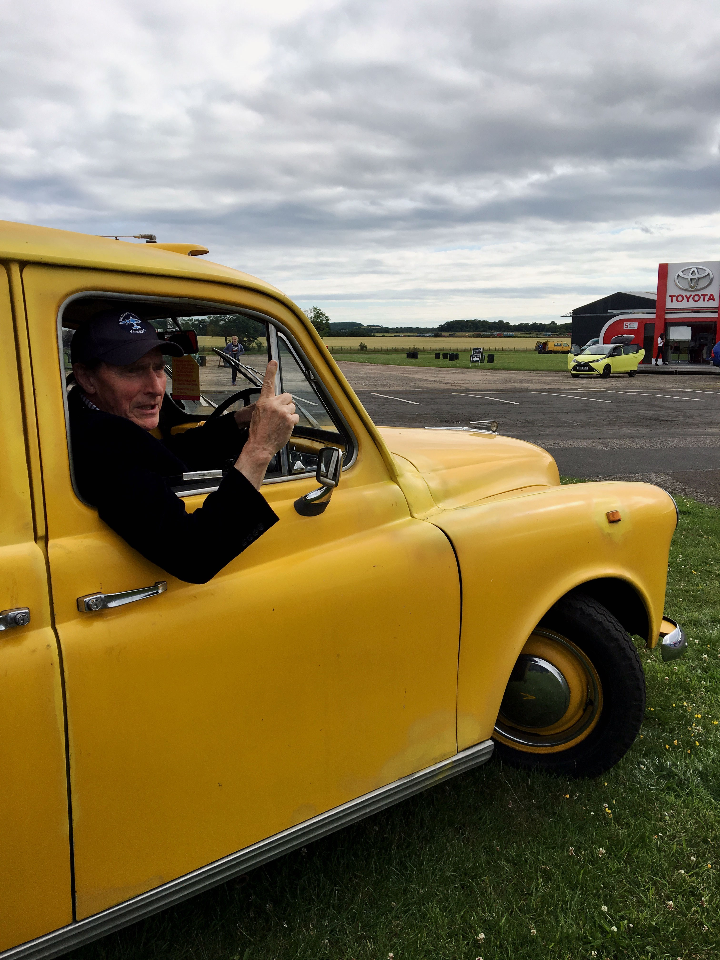 Taxi! Gregor and his yellow taxi on the ground at Scotland's National Airshow. #AirshowScot