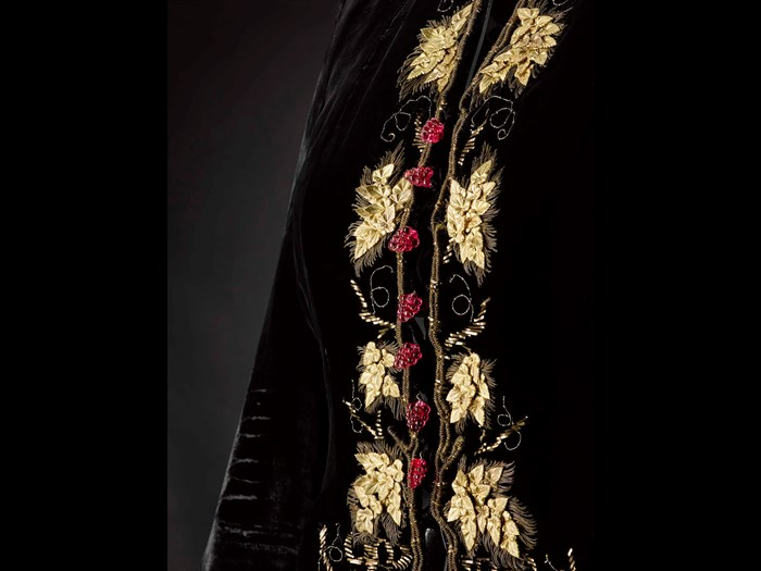 Embroidery of metal vine leaves and glass droplets on evening jacket designed by Elsa Schiaparelli (detail).