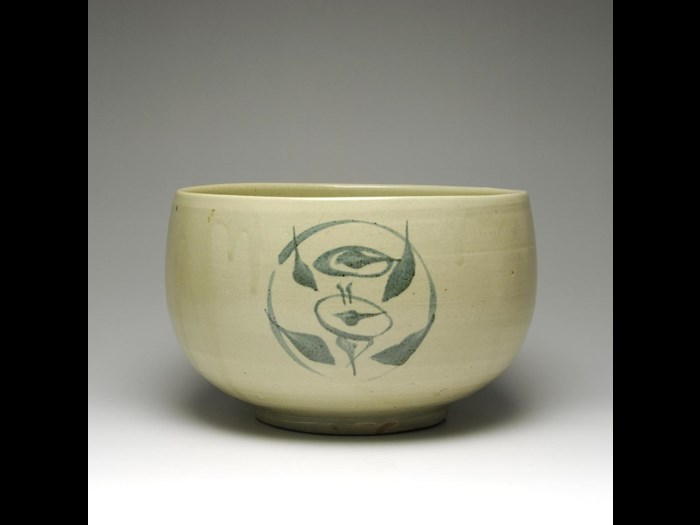 Bowl of stoneware with a greenish white glaze, made by Hamada Shoji: Japan, c1930. On display in the Making and Creating gallery, National Museum of Scotland.