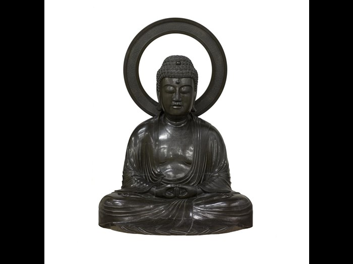 Bronze sculpture of the Buddha Amida seated in meditation with a mandorla behind his head: Japan, 18th-19th century. On display in the Traditions in Sculpture gallery, National Museum of Scotland.