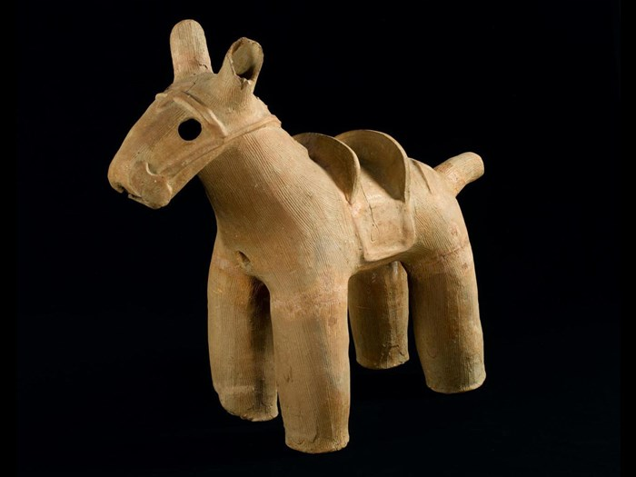 Pottery Haniwa horse: Japan, Awa province, Osato district. On display in the Inspired by Nature gallery, National Museum of Scotland.