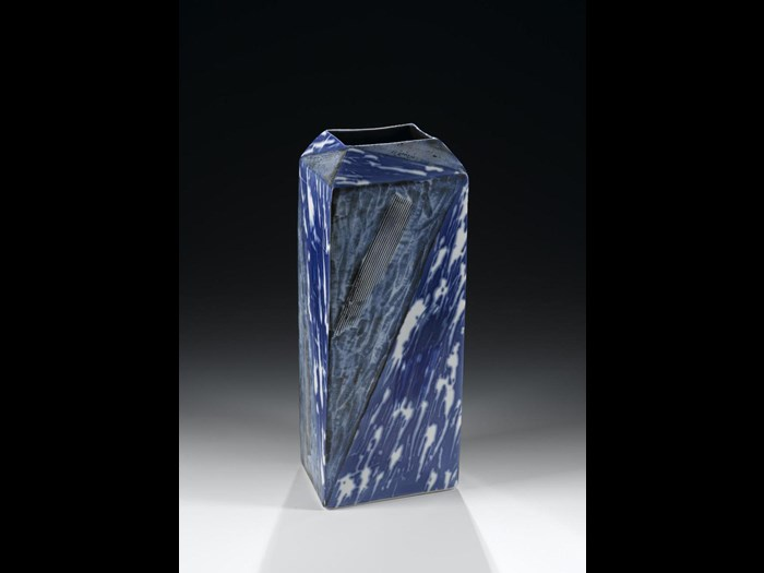 Yin Yang Blue Vase made from porcelain and decorated in blue underglaze. Japan, Kyoto, by Kondo Takahiro, 1993 – 1994. On display in the Artistic Legacies gallery, National Museum of Scotland.