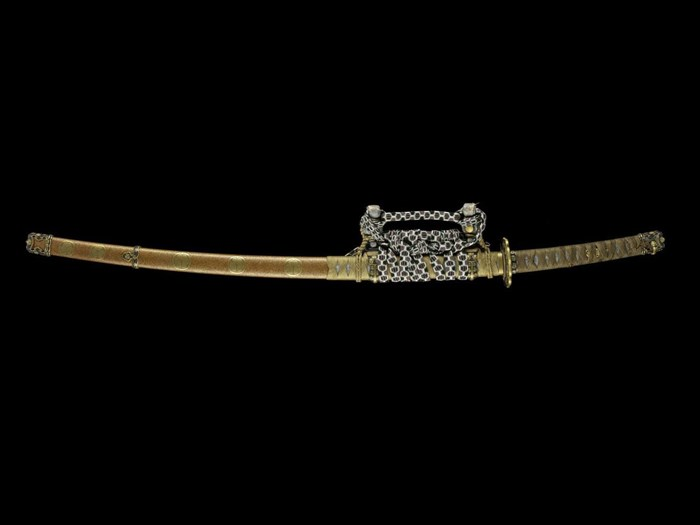 Court sword and scabbard given to John Richard Davidson by the Japanese government: Japan, blade by Fujiwara no Yukihiro, 1661–1672, mount 19th century.