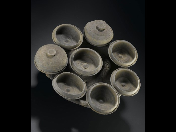 Cluster of grey stoneware dishes: Japan, Yamato Province, Dolmen period.