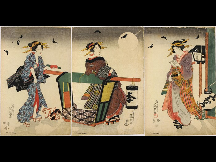 Colour woodblock print triptych depicting three young women standing beside a palanquin at night, with two puppies at their feet and a full moon and bats flying overhead: Japan, by Keisai Eisen, c1840.