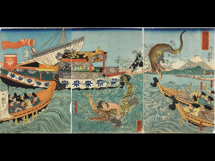 Colour woodblock print triptych entitled Minamoto no Yoriie-kō Kamakura Kotsubo no umi yūran Asahina Yoshihide shiyū no wani o tōfu zu (Asahina Yoshihide Fighting Crocodiles on the Occasion of Minamoto no Yoriie's Sea Viewing at Kotsubo), depicting Asahina fighting crocodiles in the sea off Kamakura, watched by Yoriie and his nobles in boats: Japan, Edo, by Utagawa Kuniyoshi, c1843-44.