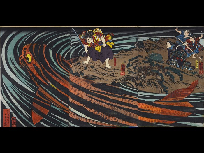 Colour woodblock print triptych, depicting Oniwaka-maru (the future Musashibo Benkei) about to attack the giant carp which devoured his mother: Japan, Edo, by Utagawa Kuniyoshi, c1845.