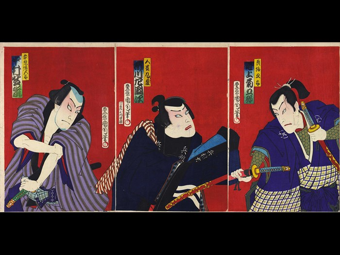 Colour woodblock triptych print depicting the Kabuki actors Onoe Kikugorō V as Megumi Sakagorō grasping two swords, Ichikawa Sadanji I as Kuzō, and Nakamura Shikan IV as Shakki Dengorō, baring his arm: Japan, by Toyohara Kunichika, 1870-80.