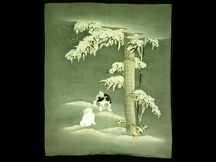 Silk fukusa (gift cover) with a design of two puppies beneath bamboo and holly in the snow: Japan, 1868-1900.