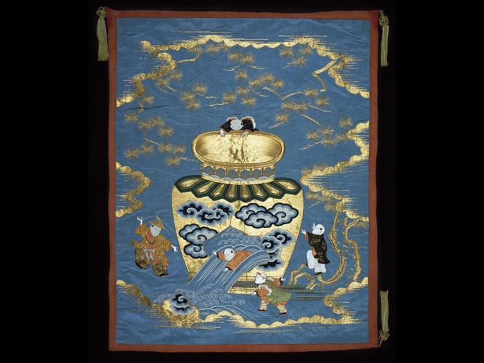 Blue satin fukusa (gift cover) embroidered in coloured silks and gold thread depicting Sima Guang (J: Shiba Onko) as a boy saving his friend from drowning in a large jar: Japan, 19th century.