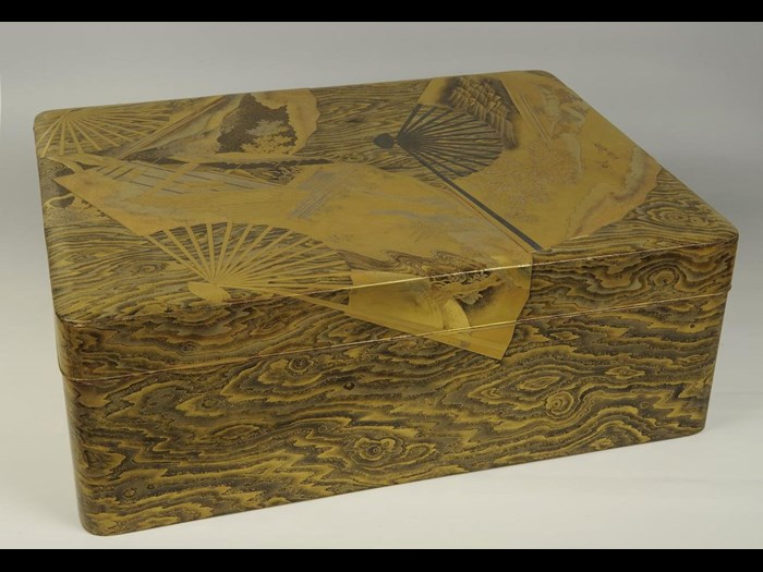 Document box (bunko) of gold lacquered wood: Japan, 18th-19th centuries.