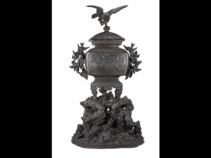 Bronze incense burner, decorated on front with a cat pursuing mice around a basket of fruit, purchased at the Centennial International Exhibition, Philadelphia, 1876: Japan, by Suzuki Chokichi, 1875-76.