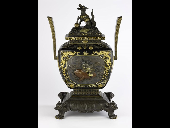 Incense burner and cover of bronze, ornamented with scenes from the tale of Urashima Taro, presented to Sir Harry Parkes by the Meiji Emperor in July 1883: Japan, by Suzuki Katsushige, Ichiryu Juko, and eight others, 1883.