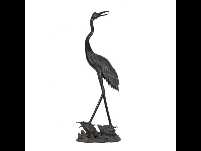 Incense-burner of bronze in the shape of a crane: Japan, 19th century. On display in the Inspired by Nature gallery at the National Museum of Scotland.