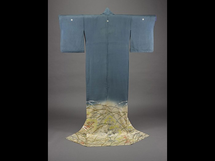 Woman's robe of blue and cream silk gauze hand-painted with a design of autumn grasses, with a collar facing of white silk gauze: Japan, late Edo period, c1850.