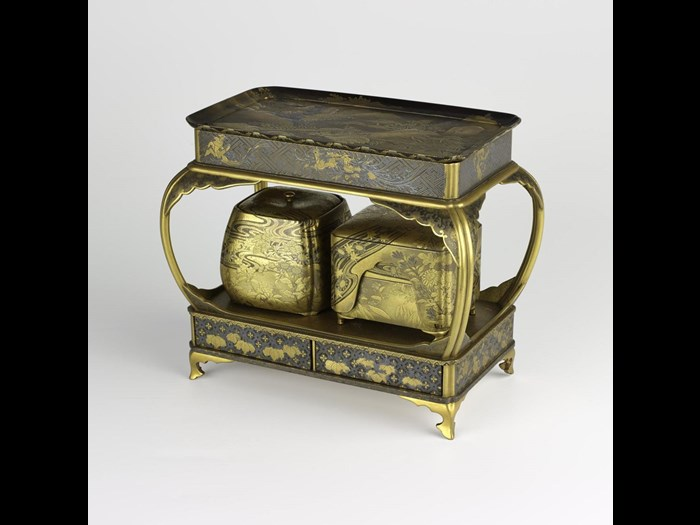 Incense game set of gold lacquered wood, containing incense holder and incense burner: Japan, 18th-19th century.