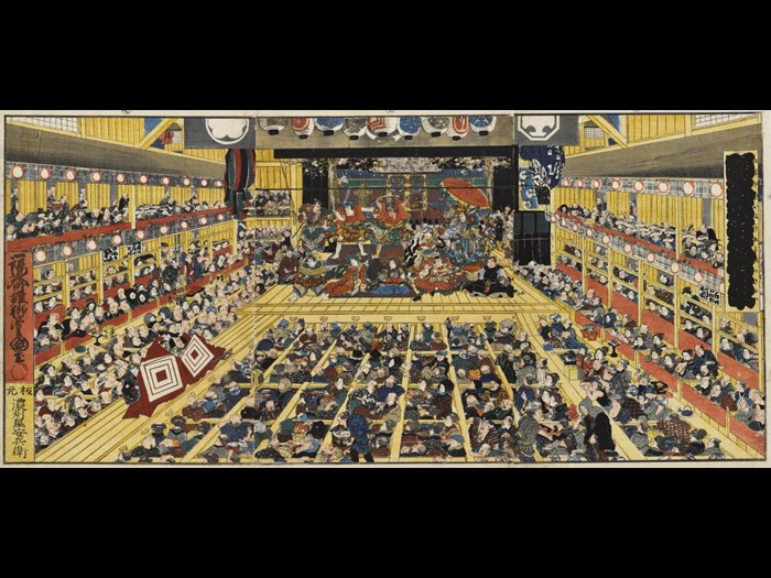 Colour woodblock print triptych depicting the interior of a Kabuki theatre during the performance of Shibaraku, an aragoto piece by one of the Ichikawa family: Japan, by Utagawa Kunisada, 1858.