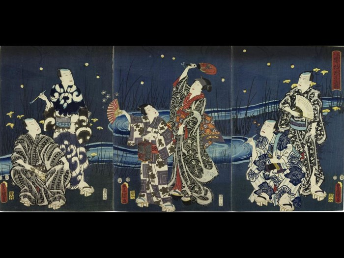 Colour woodblock triptych print entitled Mitate hotaru-gari yako tama-zoroi (Imagined Scene of Chasing Fireflies in the Evening Light), depicting six Kabuki actors beside a river in the evening chasing fireflies: Japan, by Utagawa Kunisada, 1855.