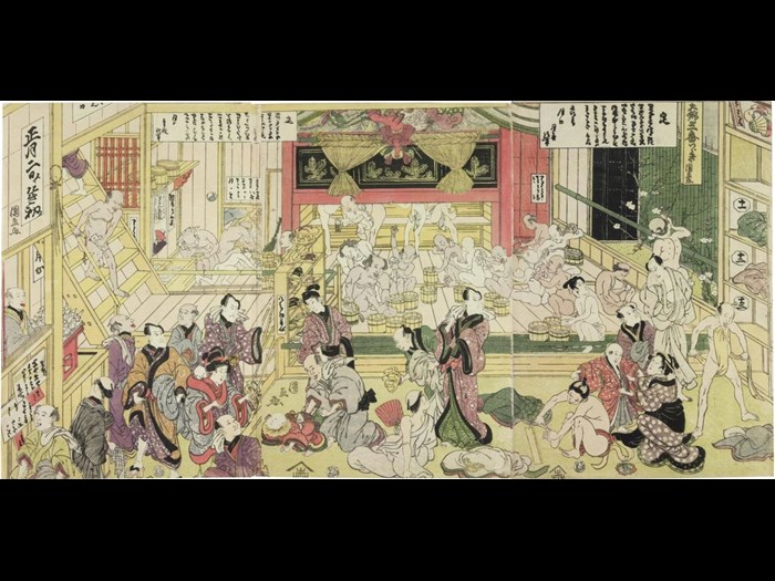 Colour woodblock triptych print depicting a scene in a public bath-house, with the Kabuki actors Nakamura Utaemon III (right), Bandō Mitsugorō III (centre) and Ichikawa Danzō (left) recognisable in the foreground: Japan, by Utagawa Kuninao, c1815.