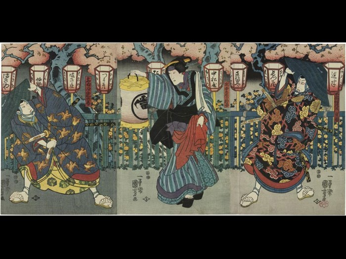 Colour woodblock print triptych depicting the Kabuki actors Ichikawa Danjuro VIII as Fuwa Banzaemon Shigekatsu (right), Onoe Eizaburō IV as O-Kuni of Izumoya and Sawamura Sojuro V as Nagoya Sanza Motoharu: Japan, by Utagawa Kuniyoshi, c1851.