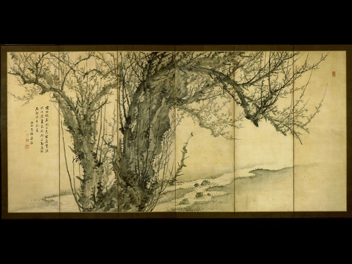 Six-panel folding screen painting of a plum tree: Japan, by Sugai Baikan, 1815-44.