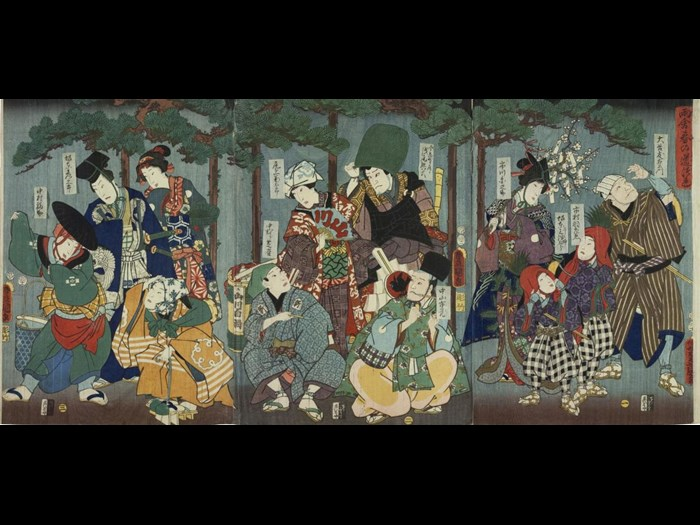 Colour woodblock triptych print entitled Amayadori haruno michizuki (Group of actors sheltering from a shower), depicting a group of twelve Kabuki actors sheltering from the rain under trees: Japan, by Utagawa Kunisada, 1855.