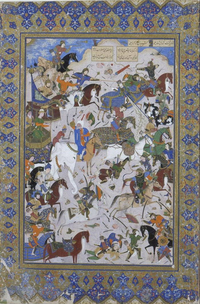 Miniature painting of the battle between Khusrau and Bahram Chubaina from Nizami's poem Khusrau and Shirin, on paper with an illuminated border: Persia, c1540 AD
