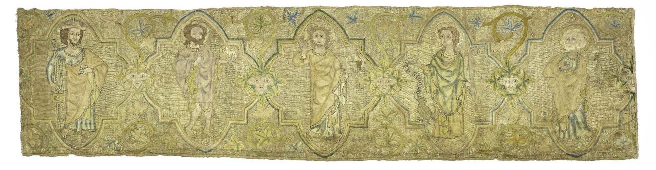 Band of linen embroidered with figures of saints: English, early 14th century.