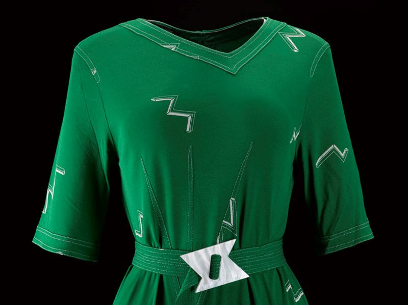 The top of a green dress designed by Bernat Klein