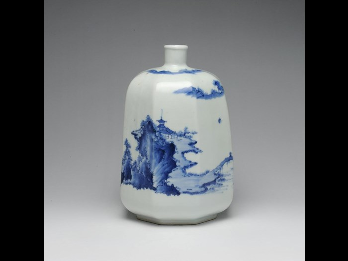 Octagonal bottle of porcelain, of lacquer shape, decorated in underglaze blue with landscape: Japan, Hirado Mikawachi, 1725-75.