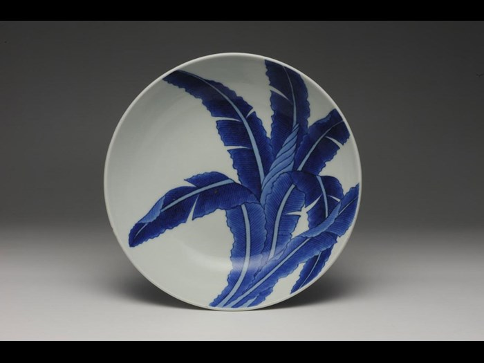 Porcelain dish with design of a banana tree: Japan, Nabeshima, 1825-50.