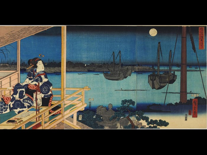 Woodblock triptych print entitled Fuzoku Genji: Tsukuda, depicting a girl seated on a verandah with a writing table and materials before her, looking out over a moonlit bay, where ships are moored and small boats are being paddled to the shore: Japan, by Utagawa Hiroshige and Utagawa Kunisada, 1853.