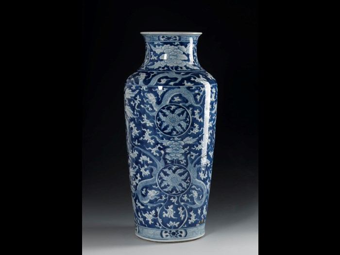 Baluster vase of porcelain, decorated in underglaze blue with dragons and foliage, known as the Lizard Bottle: China, Qing dynasty, Kangxi reign, 1662-1722.