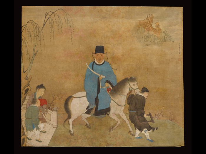 Painting of a gentleman mounted on a pony, with a groom and two attendants, signed and sealed, in ink and colours on silk, framed and glazed: China, by Zhang Jingshan, 1763 or 1823.